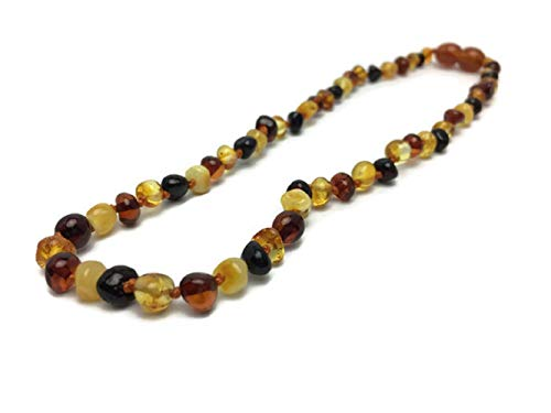 Baltic Essentials Amber Necklace 12.5' Polished for Pain, Inflammation, Back Ache, Stomach Cramps, and More