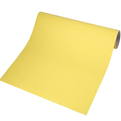 Zelfklevend behang, dikker effen kleur behang schil en Stick Home Décor voor thuis slaapkamer woonkamer muur Decor 60x500cm(24x197inch) Citroen Geel