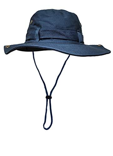 Sombrero del Pescador Plegable para Hombre Mujer, Gorro de Protección Solar UPF 50 de ala Ancha, Sombrero de Pesca Impermeable para Verano, Aires Libre, Caza, Camping Safari (Azul)