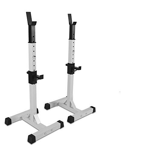 Squat Rack für die Heimfitness Power Rack Halter Gewichte Bar Langhantel Squat Steht Spotter für Zuhause Gym Workout Fitness Weiß