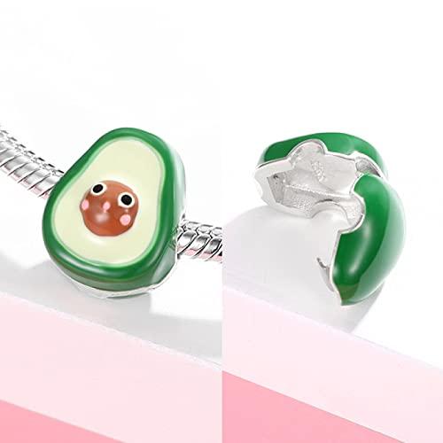 YYFHHK Amuletos De La Suerte Clips De Aguacate Perlas De Bloqueo Plata De Ley 925 Encantos De Esmalte Verde para Bricolaje Pulsera Brazalete Charms