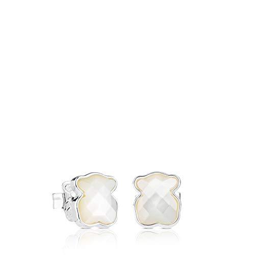 TOUS New Color - Pendientes de Botón, con Oso de Plata de Primera Ley y Nácar Facetado - Motivo: 0,9 cm.