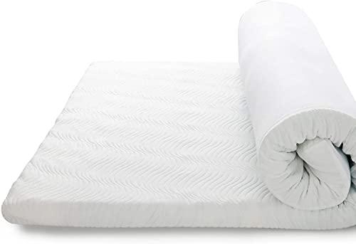 Bedsure Topper Viscoelástico Colchón 150x200x7cm - Sobrecolchon Memory Foam Antiestático con 1 Funda Extraíble y Lavable, Cubrecolchon Espuma con Efecto Memoria Hipoalergénico