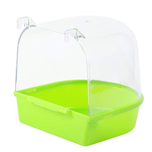 POPETPOP Baño de Aves enjaulado Que cuelga bañera Caja de baño Caja de tazón Jaula baño de Aves Cubierto para pájaros pequeños Loro Canario (Verde)
