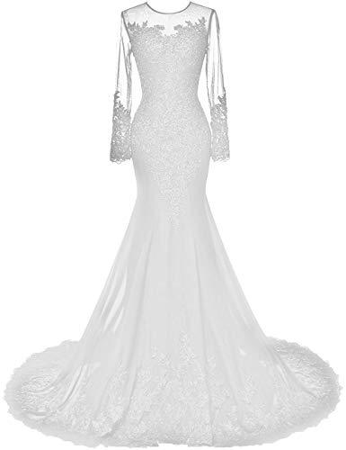 HUINI Abendkleider Lang Meerjungfrau Brautkleider Hochzeitskleid Chiffon Ballkleider Langarm Festkleid Mit Schleppe Weiß 48