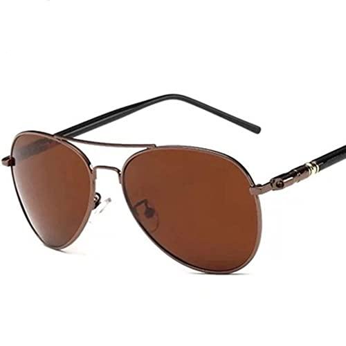 DovSnnx Unisex Polarizadas Gafas De Sol 100% Protección UV400 Sunglasses para Hombre Y Mujer Gafas De Aviador Gafas De Ciclismo Ultraligero Té De Marco Marrón Espejo Sapo