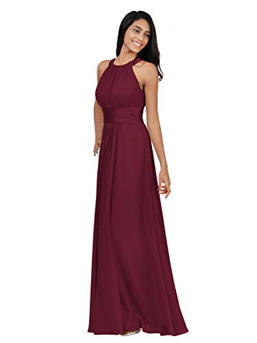 Alicepub Chiffon Bridesmaid Dresses Long for Women Formal Evening Party Prom Gown Halter, Burgundy, US10