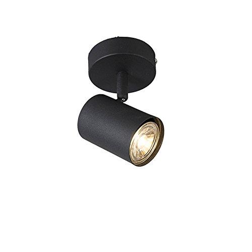 QAZQA - Modern IndustrieWand Spot | Spotlight | Deckenspot | Deckenstrahler | Strahler | Lampe | Leuchte schwarz kippbar - Jeana 1 | Wohnzimmer | Schlafzimmer | Küche - Stahl Rund - LED geeignet GU10
