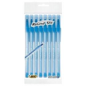 BIC Round Stic Bolígrafos de punta de bola, escritura media –azul–Paquete de...