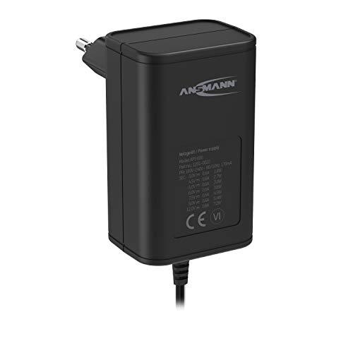 ANSMANN 12V Netzteil APS 600 Netzstecker bis max. 600mA (7 universal Adapter Stecker) Netzadapter für Elektrokleingeräte von 3-12 Volt regelbar