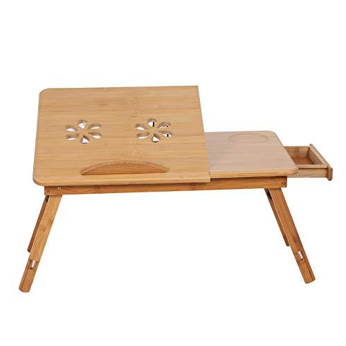 CjnJX-Vases Escritorio de Regazo para Cama de 1 Pieza, Estante de bambú Ajustable, Bandeja de Lectura, Soporte para el hogar, Cama, sofá, Dormitorio, Resistente y Duradero de Usar