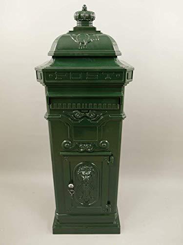 Großer Nostalgie Briefkasten, Standbriefkasten, Aluminiumguß, Antik Grün