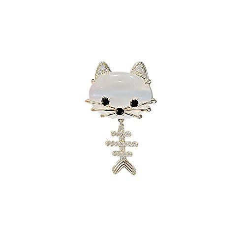 ROTOOY Broche de Gato Lindo japonés ins Marea Personalidad Cola de pez Borla Pin Collar Pin Accesorios antideslumbrantes