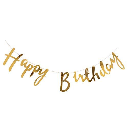 Cavore Happy Birthday Banner in Gold metallic - Schriftzug-Girlande zum Aufhängen - Geburtstagsdekoration für Erwachsene und Kinder - Mädchen und Jungen