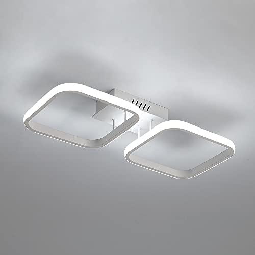 DAXGD Plafoniere LED, Moderna lampade da soffitto LED 2 quadrate bianche per cucina, camera da letto, corridoio, 30W Plafoniera a LED in acrilico, Diametro 50cm