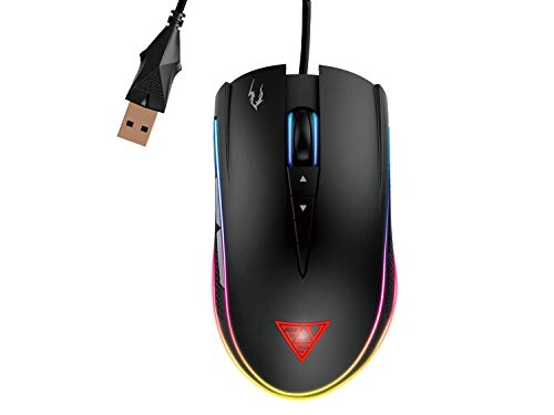 GAMDIAS Optical Gaming Mouse with Double RGB Streaming Light, Hera Software Supported, 8 Programmable Keys, Adjustable 1200 up to 10800 DPI, Weight Tunning System and Gaming Mouse Mat (Zeus M2)