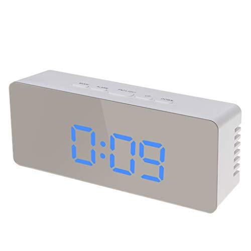Digitaler LED-Wecker, 12 Stunden / 24 Stunden Wecker, mit Thermometer, blaues Licht 2