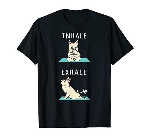 Cream French Bulldog Yoga Inhale Exhale T-Shirt Dog Shirt