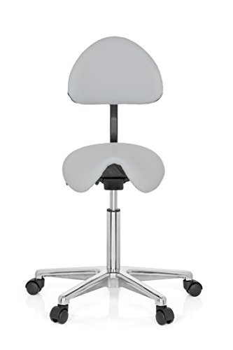 hjh OFFICE Sattel-Hocker Arbeits-Stuhl TOP Work 20 grau Industriestoff-Bezug, robust verarbeitet, Praxisstuhl 77-105 x 63 x 45 cm