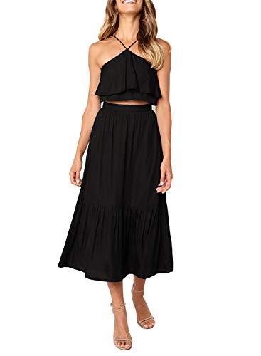 Ajpguot Verano Conjunto de Dos Piezas Largo Falda con Sexy Hoja de Loto Lado Sling Top Mujer Moda Color Sólido Vestido de Playa Sundress (XL, Negro)