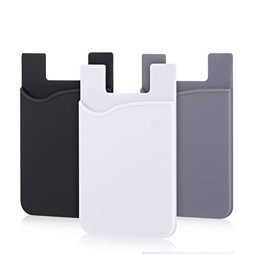 Phone Card Holder, Pofesun 3 Pack Mix Color Adhesive Sticker ID Credit Card Wallet Pocket Pouch Sleeve Universal Compatible for Smartphone, iPhone, iPad, Tablet, Android and More.(Black, White, Gray)