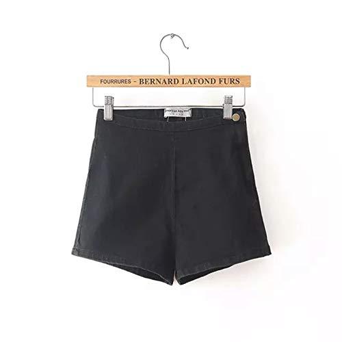Pantalones Cortos Retro para Mujer, Cintura Alta, cómodo, elástico, Denim, Pierna Recta, Cremallera Lateral,...