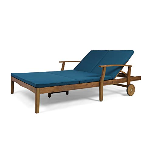 Great Deal Furniture Samantha Double Chaise Lounge for Yard and Patio, Acacia Wood Frame, Teak Finish with Blue Cushions