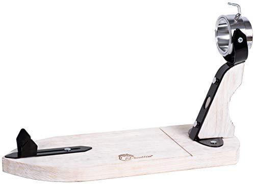 PECELLÍN Soporte Jamonero 3 en 1 con Base y Cabezal Adaptables – Forma de Bellota Ajustable en Longitud Cabezal Inclinable y Giratorio para Cortar Pata y Paleta de Jamon Serrano e Iberico