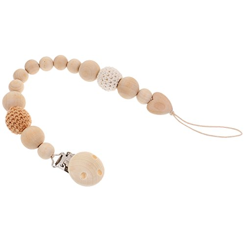 perfk Baby Mädchen Jungen Schnullerkette Schnullerband Holz Schmuck Geschenk Armband - Farbe 7, wie beschrieben