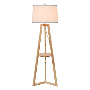 Oak Wooden Floor lamp with Shelf,Mid Century Modern Rustic Wooden Standing Floor Lamp for Living Room ,Office Bedroom ,Floor Reading Lamp for Contemporary Living Rooms Study Room ,Natural Color