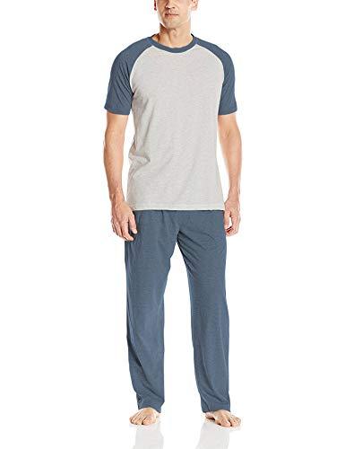 Hanes Men's Adult X-Temp Short Sleeve Cotton Raglan Shirt and Pants Pajamas Pjs Sleepwear Lounge Set - Oatmeal Heather (Medium)