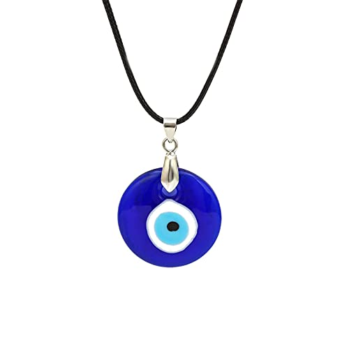 Yifnny Collar Mal de Ojo, Collar con Colgante de Ojo de Cristal Azul Turco Collar de Amuleto de la Suerte Collar de Protección Cadena de Cuero Collar de Ojo para Mujeres y Hombres (Azul)