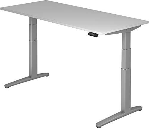 bümö® massiver elektrisch höhenverstellbarer Designer Schreibtisch | ergonomischer Stehschreibtisch | elektrischer Bürotisch | Büroschreibtisch höhenverstellbar mit Memoryfunktion in grau 180 x 80 cm