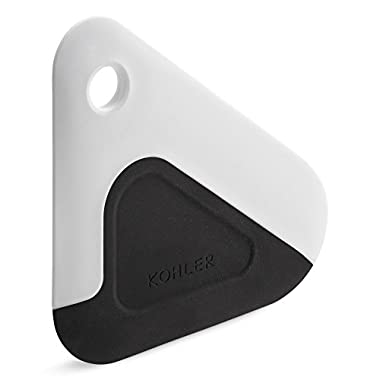 KOHLER Kitchen Pot and Pan Dish Scraper, Silicone and Nylon, Heat Resistant, White and Charcoal
