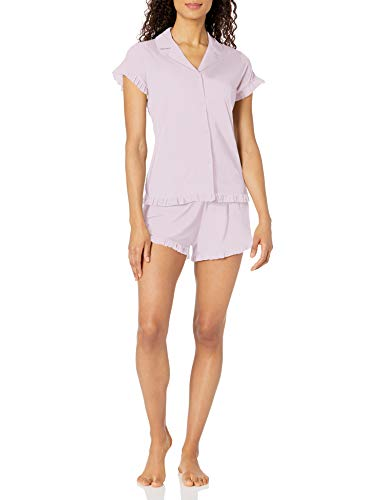 Amazon Brand - Mae Women's Notch Collar Pajama Set W/ Ruffle Detail, Lavender, 1X