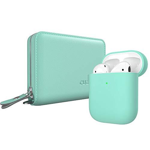 Cuauco AirPods Ledertasche Hülle (Echtes Leder), AirPods Hülle Silikon AirPods Case Kompatibel mit Apple AirPods 1 & 2 (LED an der Frontseite Sichtbar) mit Karabiner,2 Pack Airpods Zubehör(Mintgrün)
