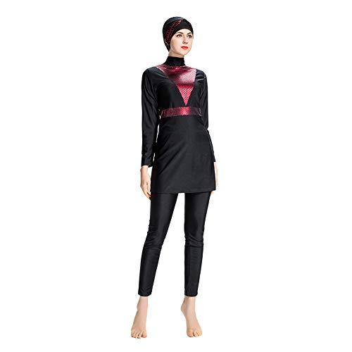 Meijunter Bescheidene Muslimische Badeanzug Burkini - Frauen Badebekleidung Set Hosen Hijab Volle Abdeckung Schnell Trocknend Beachwear Elastischer Badeanzug Sonnenschutz UPF 50+