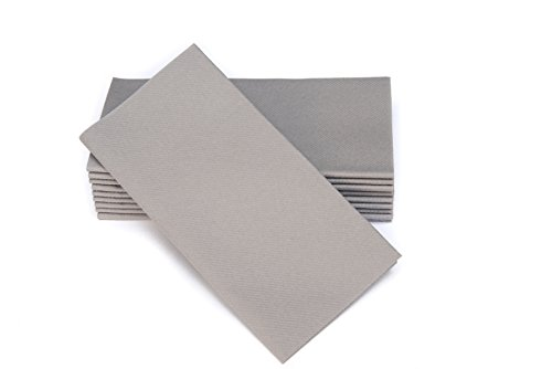 "Simulinen Dinner Napkins – Disposable, Gray, Cloth-Like – Elegant, Yet Heavy Duty Soft, Absorbent & Durable – 16""x16"" – Box of 50"