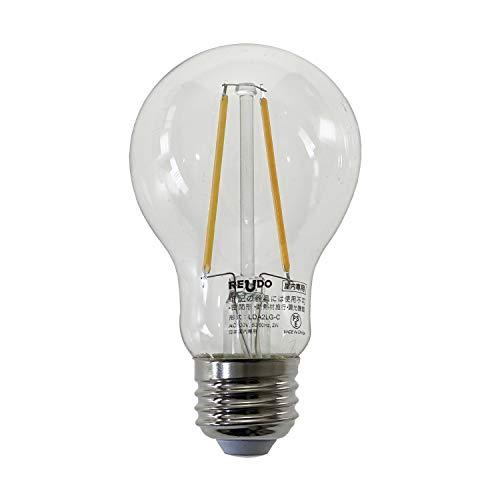 ReUdo LEDフィラメント電球 クリアガラス 全方向タイプ E26口金 一般電球25W形相当 全光束230lm 消費電力2W 電球色2700K (1個単品)