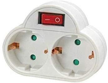 2 tomas Enchufe con interruptor Schuko conector | 2 capas de enchufe doble en blanco