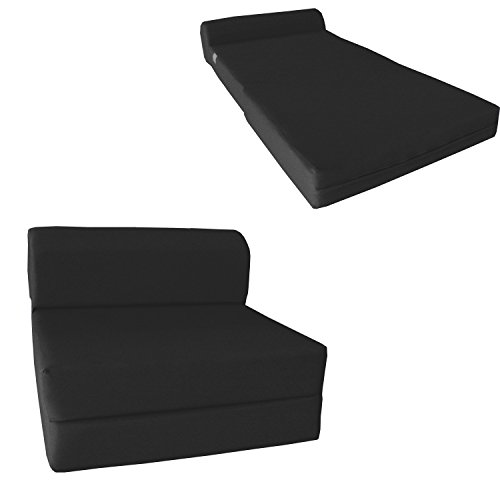 Chair Folding Foam Bed, Studio Sofa Guest Folded Foam Mattress (6' x 24' x 70', Black)