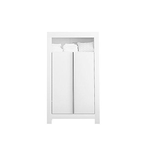 Felix Babyzimmer Wickelkommode Babybett Kleiderschrank Weiß oder Akaziengrau (Weiß, 2-türiger Kleiderschrank)