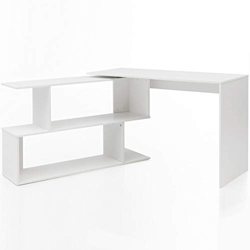 WOHNLING WL5.756 Bureau Design avec étagère Blanc Mat 119 x 78 x 49 cm