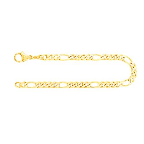 EDELWEISS Pulsera para Hombre de Oro Real de 4.3 mm, Pulsera de Diamantes Figaro Oro Amarillo 8 k 333, Pulsera de Oro con Sello, con сierre de mosquetón, Long. 18 cm, p. 7.4 g
