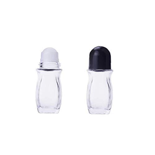 ZYCX123 Roll-on 2 PC-Mehrweg-Glasflaschen Deodorant, dichte Massage Roller-Flaschen Behälter mit Rollen-Kugel-Schwarz-Kappe für Aromatherapie Ätherische Öle (50 ml)