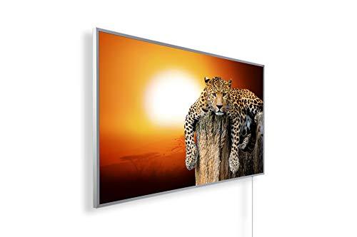 Könighaus Fern Infrarotheizung - Bildheizung in HD Qualität mit TÜV/GS - 200+ Bilder – mit Smart Home Thermostat, steuerbar mit APP für Handy- 1000 Watt (62. Leopard Chilled im Sonnenuntergang)