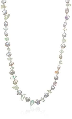[ピュアパール] pure pearl 淡水パール&フルオライト天然石ネックレス PPY6062N