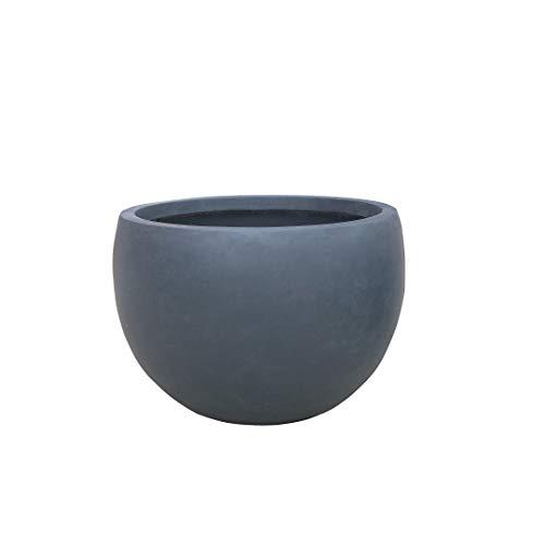 Kante RC0049C-C60121 Lightweight Concrete Outdoor Round Bowl Planter, Charcoal