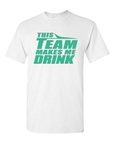 Gildan This Team Makes Me Drink New York Adult T-Shirt Tee (X-Large, White)
