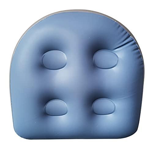Aufblasbares Kissen, Whirlpool- und Whirlpool-Sitzkissen mit Saugnapf-Rückenlehne zur Unterstützung des Badewannen-Sitzkissens weiches aufblasbares Massagekissen (Blue)